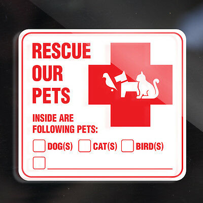 2x SAVE PETS STICKER DECAL - Following Pets are Inside Dogs, Cats, Birds, Other