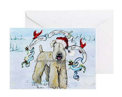 Merry Christmas Wheaten Terrier Greeting Card Set of 10 Identical Wheaties