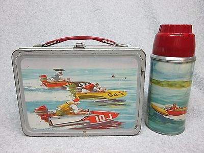 1959 BOATING LUNCHBOX & THERMOS Sail Boat,Race,Ski,Row,Speed C#7.5 Thermos-C#9