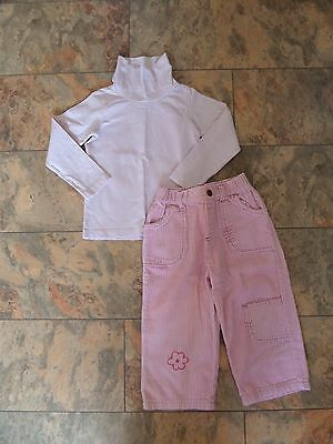 FABULOUS Girl's H&M Outfit Age 2-3 Pink Striped Poloneck & Cords VGC--LOW START