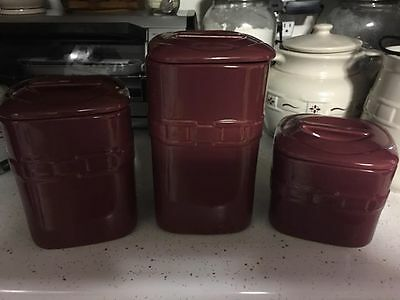 3 Longaberger Woven Traditions PAPRIKA Red Canister SET w Lids  S   M   L