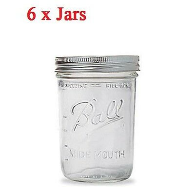 6 x Ball Mason Wide Mouth Pint (475ml) Jars Lids BPA Free Jam Weddings Candles