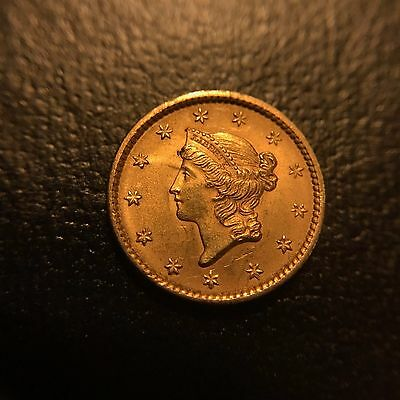 1852 $1 Liberty Head Gold One Dollar UNC MS BU Uncirculated Luster