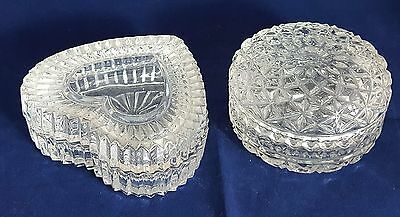 Two Srunning Beautiful Cut Glass / Crystal  Decorative  Bowls with Lids