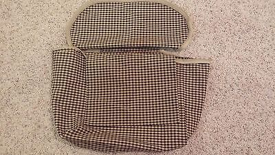 Longaberger Large Boardwalk Liner - Black  & Khaki Check - Zipstyle - Look!!