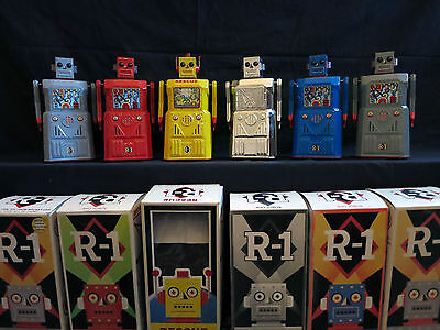 R-1 Robots - RARE x6 Collection - by Rocket USA. Tin & Plastic Robot Space Toys