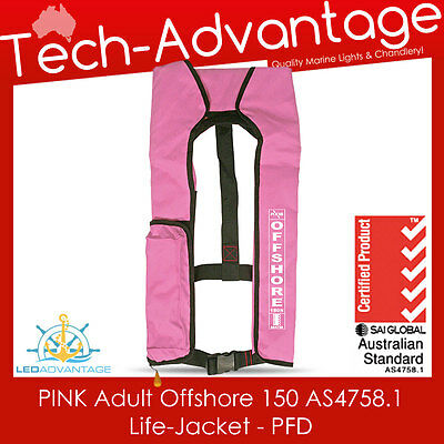 Adults Pink 150N Offshore Pfd Inflatable Safety Boat Life Jacket - Aus Approved