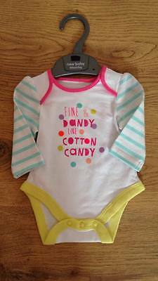 Cotton Candy Unisex Long Sleeved Vest Baby Gift Ex Motherc*re Stock