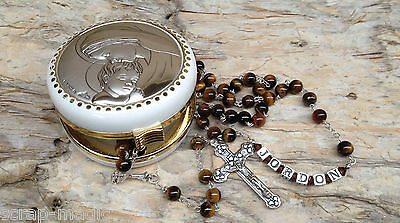 Tiger Eye Personalised Rosary Beads complete with name in sterling silver