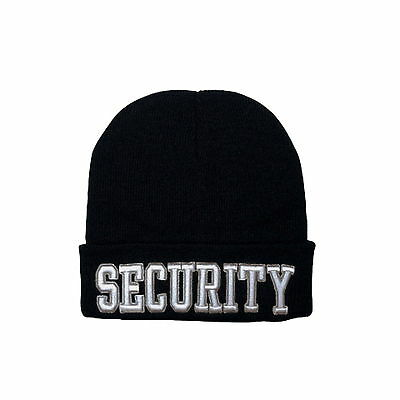 6255cee5e93 Deluxe Black Security Officer Guard Embroidered Knit Winter Work Watch Cap  Hat