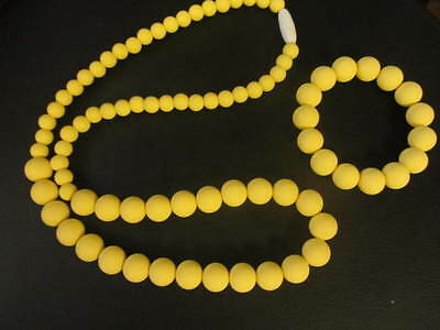 Silicone Teething Necklace with Bracelet-Yellow for mommy and Baby nursing chew