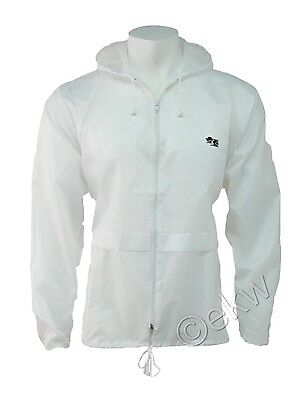 Unisex Bowls Lawn Bowling White Lightweight Kagool Cagoule  Hooded Rain Jacket