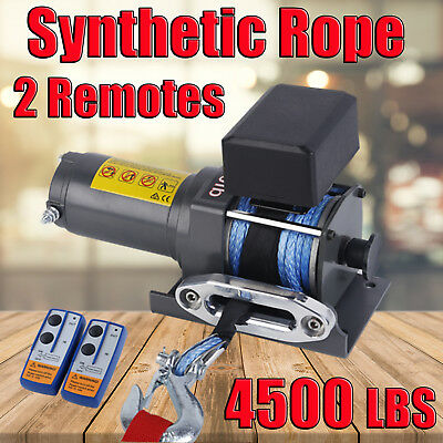 4000LBS / 1815KG Electric Winch Synthetic Rope ATV 4WD BOAT 12V Wirless Remotes