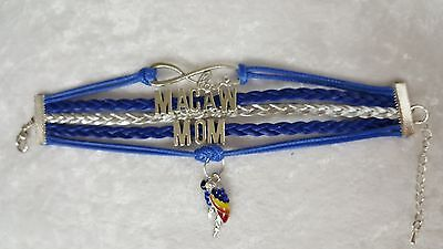 Macaw Mom, Parrot, Bracelet Blue and Silver with Charms