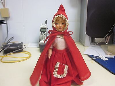 "Antique Celluloid Little Red Riding Hood Doll 8"" tall painted face"