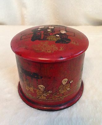 Antique 1870's Chinese Orange Red Lacquered Wooden Tea Caddy Box