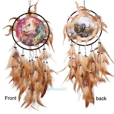 Wolf Handmade Dream Catcher with Feathers Wall Car Hanging Decoration Ornament #