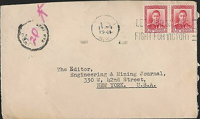New Zealand Cover 1941 Special Cancels To New York Engineering & Mining Journal