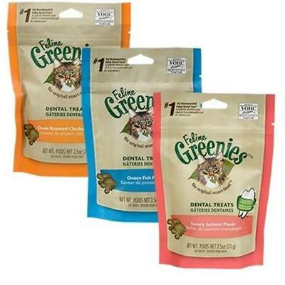 THREE PACK - Feline Cat Greenies Chicken Salmon Tuna Flavours 71gm Packets x 3