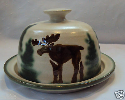 Moose Pottery Dish with Lid Butter Cheese Hand Crafted
