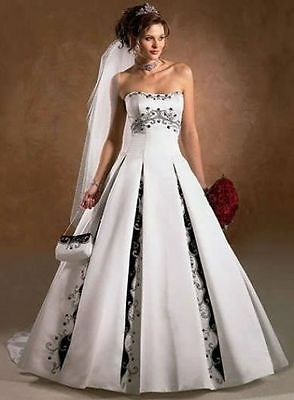 Sweetheart Black&White embroide lace Ball Gown Wedding Dress Bridal Gowns Custom