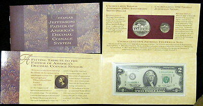 1993 THOMAS JEFFERSON COINAGE AND CURRENCY SET COMPLETE W/ MATTE 5c, $2 & SILVER