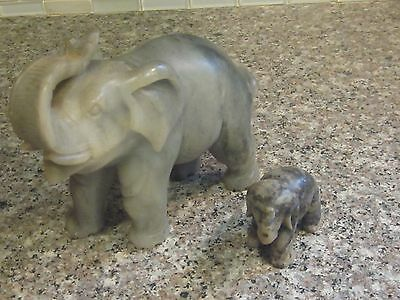 """Vintage Chinese 6.5"""" long 5"""" tall 2.75"""" deep Gray Soapstone Elephant with Calf"""