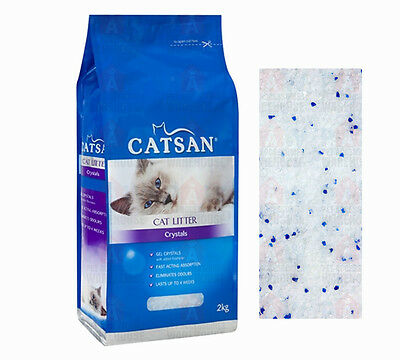 CATSAN Crystals Premium Cat Kitty Litter 2KG Highly Absorbent Silica Gel Crystal