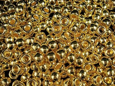 Pony Beads 9x6mm Metallic Gold 100pc Kids Hair Toy Jewellery Party FREE POSTAGE