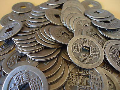 100 Pcs Feng Shui Lucky Chinese Bless Fortune Coins Oriental Emperor Qing Money