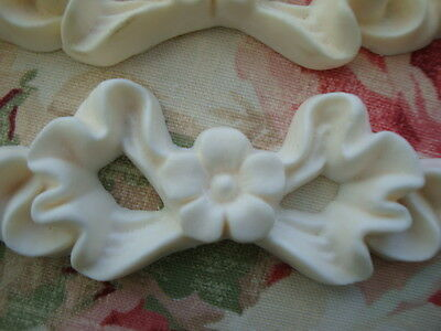 FLEXIBLE Bow with Flower* Furniture Appliques 2 pcs. Architectural Onlay