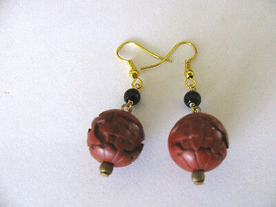 HANDCRAFTED DEEP RED CINNABAR RESIN BEAD w/SMALL BLACK BEAD PIERCED EARRINGS