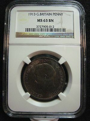 1913 Great Britain Penny NGC MS 63 BN Appealing