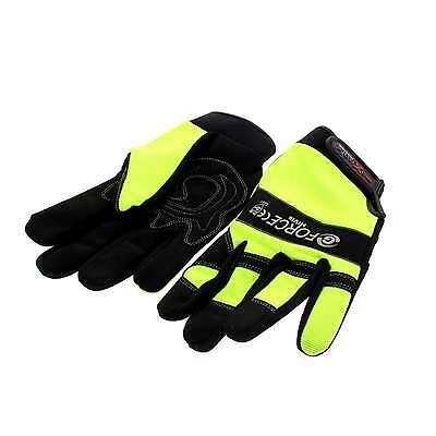 G-Force Hi Vis Mechanics Riggers Safety Glove Synthetic Leather Velcro Wrist XL