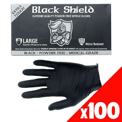 Black Shield Nitrile Gloves Safety Extra Heavy Duty Low Sweat Box of 100 Large