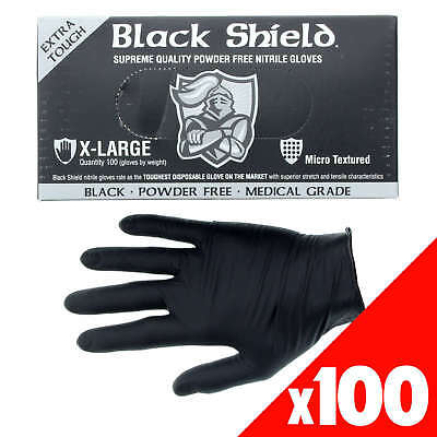 Black Shield Nitrile Gloves Safety Extra Heavy Duty Low Sweat Box of 100 XL