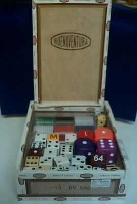 Cigar Box Wood With Poker Chips/cards /dice