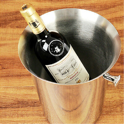 Silvery Srainless Steel Champagne Bucket Wine Drink Ice Cooler