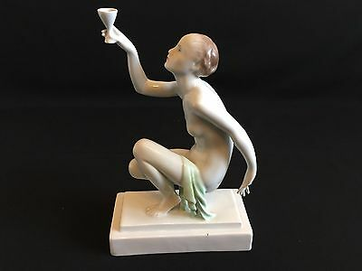 Herend Porcelain Nude Figurine and cup in hand