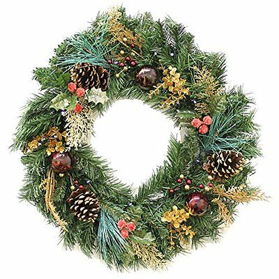 WeRChristmas 60 cm Decorated Pre-Lit Wreath Illuminated with 20 Warm White LED