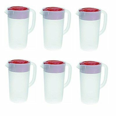 Rubbermaid - Covered Pitcher 2.25 Qt - White with Red Cover Pack of 6