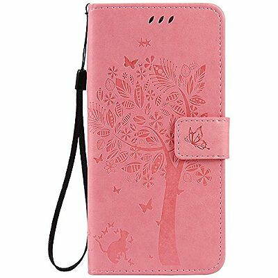 C-Super Mall-UK Apple iPhone 7 Case, Embossed Tree Cat Butterfly Pattern PU Flip