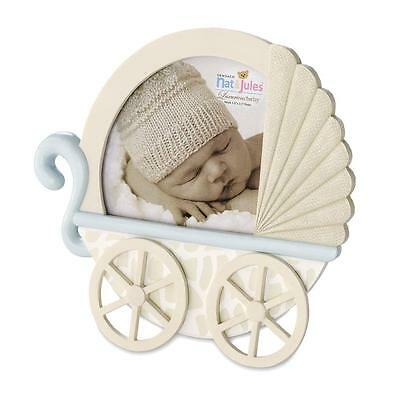 Demdaco baby kids boy light blue Giraffe Carriage Picture Frame Collection Gifts