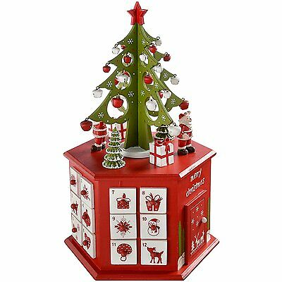 WeRChristmas Wooden Tree Advent Calendar Tower Christmas Decoration, 36 cm - Red