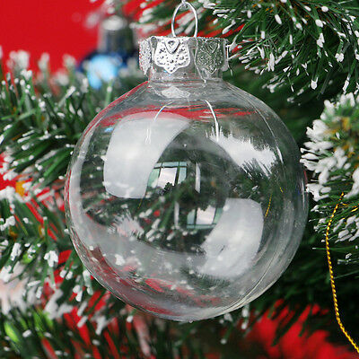 10pcs 65mm Christmas Baubles Balls Glass Style Shatterproof Xmas Tree Decoration