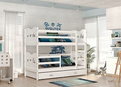 Max Bunk Bed Kids Childrens With Free Mattresses White
