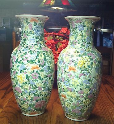 Pair Chinese Porcelain Ginger Jars / Vases With Dainty Pastel Flowers