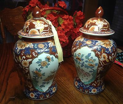 Pair Famille Rose Chinese Porcelain Ginger Jars / Vases
