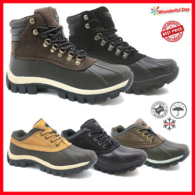 LM Men's Winter Snow Boots Shoes Work Boots Genuine Leather Waterproof