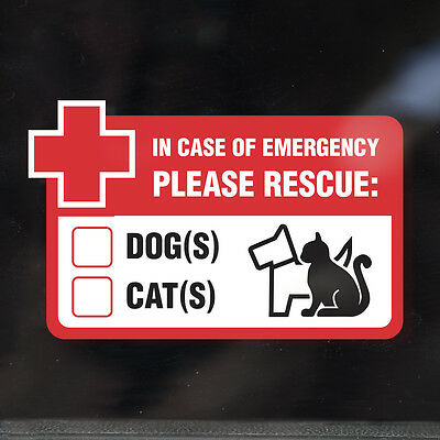 RESCUE PET WINDOW STICKER DECAL - Fire, Flood, Emergency Rescue DOGS and CATS